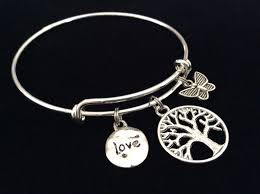 silver wire bangle bracelet images Tree of life butterfly and love charm on a silver expandable wire jpeg