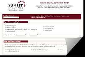 on line loan application sunset science park federal credit