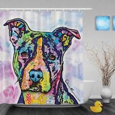 Quality Home Decor Aliexpress Com Buy Colorful Pitbull Dog Waterproof Shower