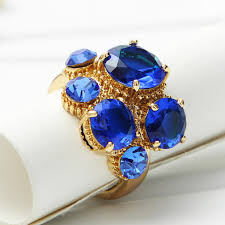 blue fashion rings images Gold plated zircon green blue party finger rings statement fashion jpg