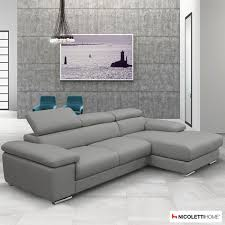 Nicoletti Leather Sofa Nicoletti Lipari Grey Italian Leather Sofa Chaise Right Facing