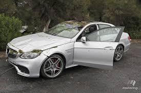 nasty e 63 amg crash leaves journalist driver fine and dandy