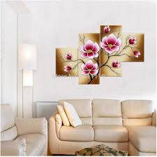 framed 5 panel high quality home decoration wall art rose oil hand painted canvas oil picture wall art painting pink flower pictures on canvas group of oil