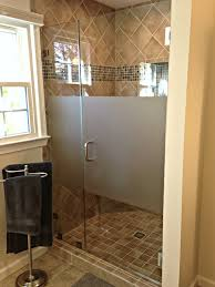 Clear Shower Unit with Acid Etch Privacy  Chevy Chase Glass