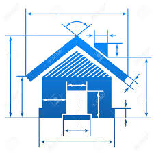 home symbol with dimension lines element of blueprint drawing