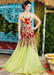 party wear gowns liril green net party wear gown