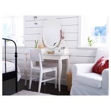 teenage white wooden make up table and white leather upholstered