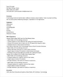 Sample Cosmetologist Resume by Sample Resume For Cosmetology Teacher Templates