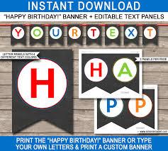 chalkboard birthday party banner template birthday bunting