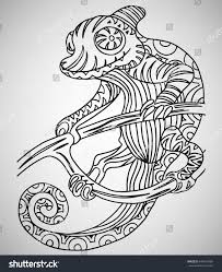 chameleon handdrawn ethnic pattern coloring page stock vector