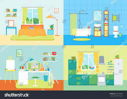 kitchen and bedroom design cartoon interior basic room home working stock vector 548106007