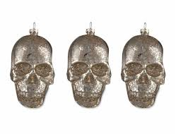 bethany lowe 3 mercury glass silver skull ornaments 4