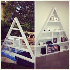 handmade triangle bookcase made from recycled timber sleepers www