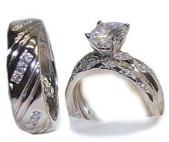 camo wedding rings his and hers his hers 3 wedding engagement ring set white gold ep sterling