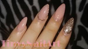 rose gold u0026 glitter almond nails youtube