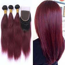 black hair weave part in the middle ombre two tone straight wine red hair bundles with lace closure