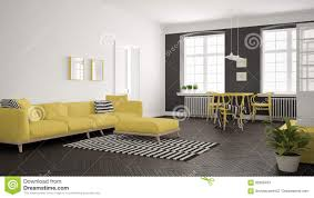 bright minimalist living room with sofa and dining table scandi