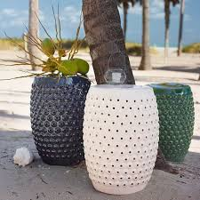 Ceramic Side Table Garden Stool Side Table Iron Wood