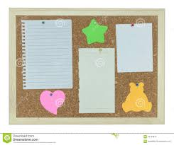 Stick Paper Cork Notice Board With Stick Note Paper Pin Stock Photo Image