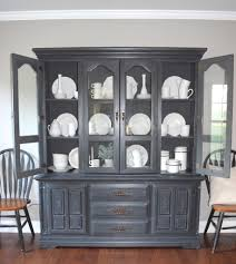 chalk paint hutch makeover with a restoration hardware look a a brick home chalk paint hutch makeover in charcoal chalk paint hutch ideas grey