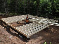 16x24 post and pier cabin built up beams in place for pier and beam foundation beams