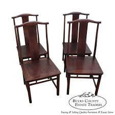 8619 baker set of 4 asian chinese style mahogany dining chairs