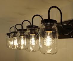 Five Light Vanity Fixture Mason Jar Vanity 5 Light New Quart Clear U2013 The Lamp Goods