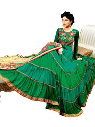 fabulous prafful green anarkali suits latest collection