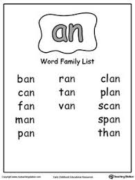 ay word family list word families words and to read