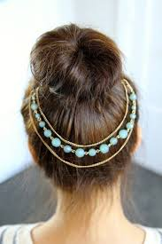 bun accessories jewels headband beaded gold headpiece bun hair