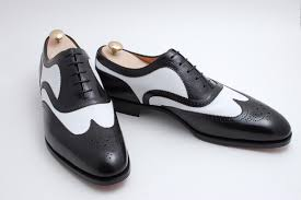 handmade men spectator shoes men two tone black and white wingtip