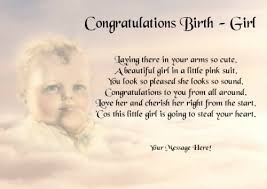 baby girl poems personalised poem congratulations baby girl gift print co uk