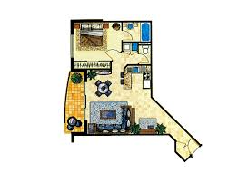 Apartment Floor Plans Turtle Beach Resort - One bedroom apartment designs example