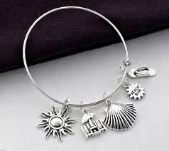 bangle bracelet charm silver images Beach bangle bracelet beach bracelets beach charm bracelet jpg