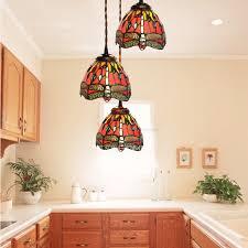 Kitchen Mini Pendant Lighting 3 Light Dragonfly Pattern Tiffany Style Mini Pendant Lights