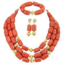 african wedding bead necklace images Africanbeads 3 row orange coral woman party jewelry african jpg