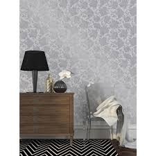silhouette self adhesive wallpaper in metallic silver design by