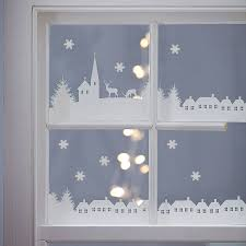 Christmas Decorations For Your Window christmas village scene vinyl stickers christmas villages scene