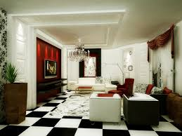 modern luxury living room ideas with black and white floor tile