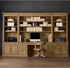 Book Case Desk Rh U0027s Library Desk Wall System Our Solid Wood Bookcase System Is