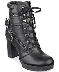black lace up motorcycle boots g by guess gogi lace up booties in black lyst