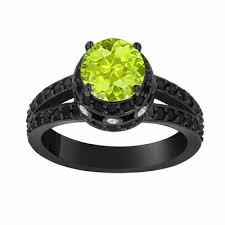 peridot engagement rings peridot black diamond engagement ring vintage style 14k black
