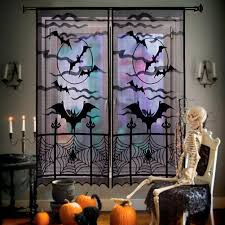 halloween scene setters amazon com aerwo black bats halloween lace window curtain with
