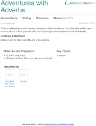 adventures with adverbs lesson plan education com