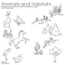 animals and habitats matching worksheet science activities