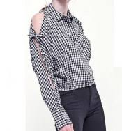 Black And White Plaid Shirt Womens Plain White Cold Shoulder Tops For Fat Women Plus Size Tie Sleeve