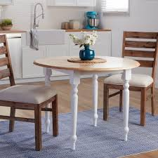 circle table with leaf two tone 40 inch rubberwood round drop leaf table free shipping