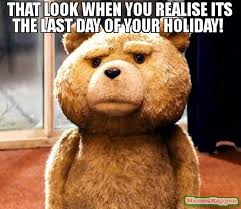 Holiday Meme - that look when you realise its the last day of your holiday meme