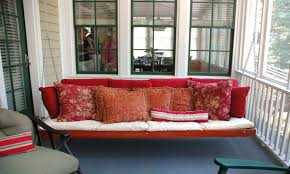 hanging porch bed swings porch swing daybed red front making wood