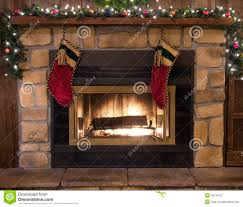 christmas fireplace hearth and stockings landscape royalty free